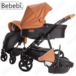Bebebi | Modell ECO Wing | Luftreifen in Schwarz | 3 in 1 Kombi Kinderwagen Almond ECO Leather -