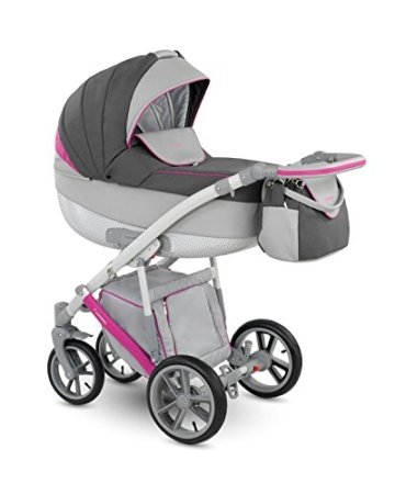 Lux4Kids Kinderwagen Set Babywanne Sportsitz Babyschale Wickeltasche Matratze Buggy optionales Zubehör Ganzjahres Sommer Winter 3in1 VIP Luxus Made in EU Piro + Autositz Grau-Anthrazit-Pink PR-3 mit Isofix-Ausstattung mit Sonnenschirm mit Winterfußsack Fleece -