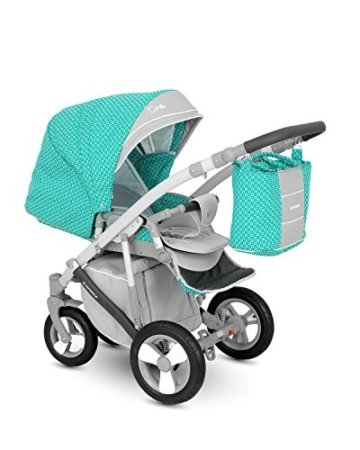 Lux4Kids Kinderwagen Set Babywanne Sportsitz Babyschale Wickeltasche Matratze Buggy optionales Zubehör Ganzjahres Sommer Winter 3in1 VIP Luxus Made in EU Canillo+ Autositz Grau-Türkis Cn-2 mit Isofix-Ausstattung mit Sonnenschirm mit Winterfußsack Schurwolle -