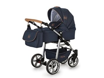 Lux4Kids Kinderwagen Set Babywanne Sportsitz Babyschale Wickeltasche Matratze 3in1 VIP Luxus Made in EU Easy One Blau & Jeans - 2