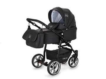 Lux4Kids Kinderwagen Set Babywanne Sportsitz Babyschale Wickeltasche Matratze 3in1 VIP Luxus Made in EU Easy One Schwarz - 2