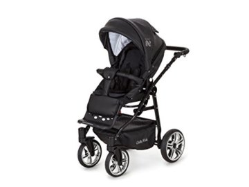 Lux4Kids Kinderwagen Set Babywanne Sportsitz Babyschale Wickeltasche Matratze 3in1 VIP Luxus Made in EU Easy One Schwarz - 3