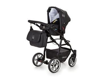 Lux4Kids Kinderwagen Set Babywanne Sportsitz Babyschale Wickeltasche Matratze 3in1 VIP Luxus Made in EU Easy One Schwarz - 4