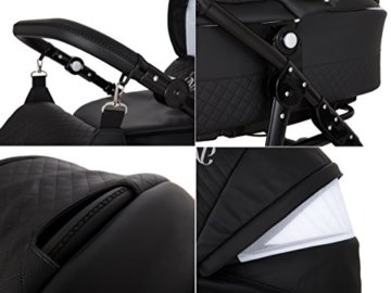Lux4Kids Kinderwagen Set Babywanne Sportsitz Babyschale Wickeltasche Matratze 3in1 VIP Luxus Made in EU Easy One Schwarz - 7