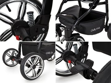 Lux4Kids Kinderwagen Set Babywanne Sportsitz Babyschale Wickeltasche Matratze 3in1 VIP Luxus Made in EU Easy One Schwarz - 8