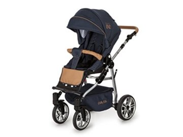 Lux4Kids Kinderwagen Set Babywanne Sportsitz Babyschale Wickeltasche Matratze 3in1 VIP Luxus Made in EU Easy One Blau & Jeans - 3