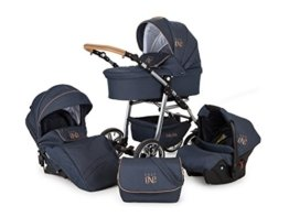 Lux4Kids Kinderwagen Set Babywanne Sportsitz Babyschale Wickeltasche Matratze 3in1 VIP Luxus Made in EU Easy One Blau & Jeans - 1