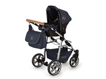 Lux4Kids Kinderwagen Set Babywanne Sportsitz Babyschale Wickeltasche Matratze 3in1 VIP Luxus Made in EU Easy One Blau & Jeans - 4