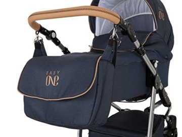 Lux4Kids Kinderwagen Set Babywanne Sportsitz Babyschale Wickeltasche Matratze 3in1 VIP Luxus Made in EU Easy One Blau & Jeans - 5