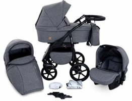 Boston 3 in 1 Kombi Kinderwagen Liegewanne Buggy Autositz Carlo (B1-Grey jeans) - 1
